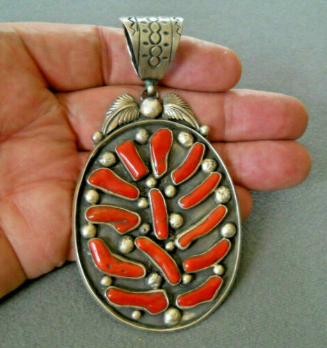 "JEAN DIXON Native American Navajo Branch Coral Cluster Sterling Silver Pendant4"""