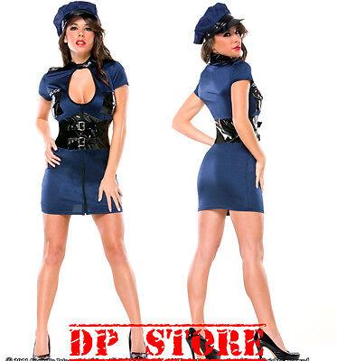 COQUETTE 2 PCS SEXY SERGEANT POLICE UNIFORM HALLOWEEN COSTUME DOMINATRIX PVC M L Clothing, Shoes & Accessories