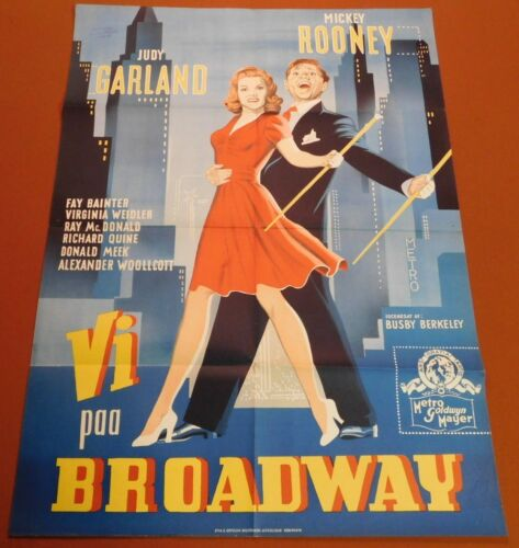 BABES ON BROADWAY Vintage 40s Film JUDY GARLAND Danish Color Litho MOVIE POSTER