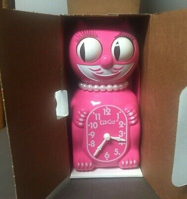 "STRAWBERRY ICE LADY KIT CAT CLOCK 15.5"" Pink USA MADE Kit-Cat Klock"