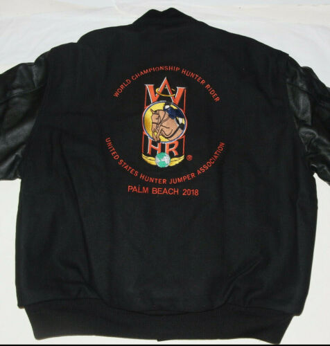 NEW HOLLOWAY HUNTER RIDER/PALM BEACH WOOL/LEATHER BLACK JACKET! EMBROIDERED! XL
