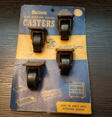 Vintage Bassick Ball Bearing Swivel Casters 5629be 1.25 Wheels - New In Package