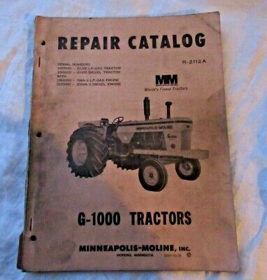 Minneapolis Moline G1000 G-1000 Tractor Parts Catalog Book Manual