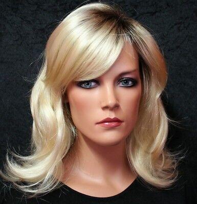 Damen Perücke platinblond mit dunklem Haaransatz Zweithaar wig - Platin Blonde Perücke