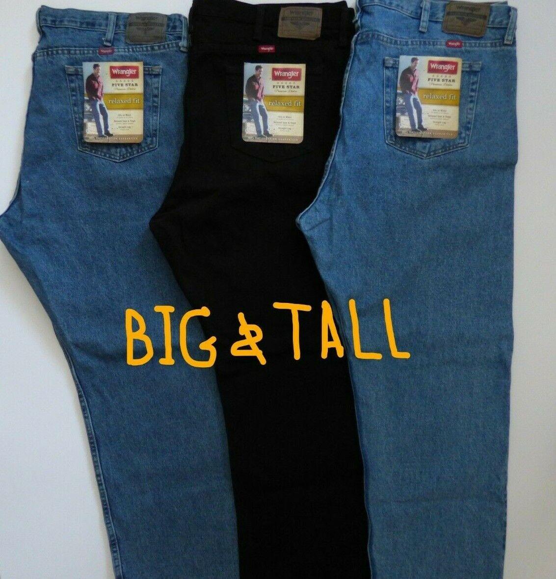 Mens Wrangler 5 Star Relaxed Fit Jeans Premium Denim