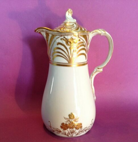 Saxe Ahrenfeldt Chocolate Pot - White Embossed Porcelain - Gold Moriage Accents