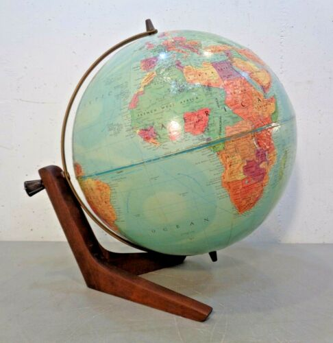 "Vintage MCM Replogle Stereo Relief 12"" Diameter Globe Teak Base 14"" Tall Swivel"