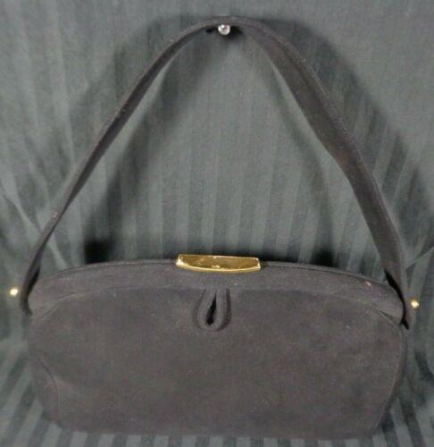 Vintage 1950s BIENEN DAVIS Black SUEDE Handbag Purse Mirror Top Handle change