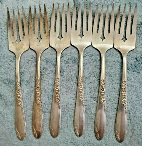 Wm A Rogers Country Lane, Oneida Sectional Silverware Salad Forks (6)