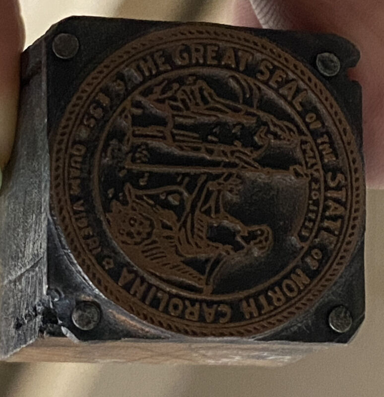 Rare Antique!  GREAT SEAL OF NORTH CAROLINA 1 Inch Wooden Seal/Embossing Block