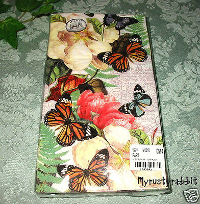 Magnolia & Butterfly Napkins ~ 16 Hostess Paper Guest Towels ~ 3 Ply ~ Michel