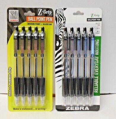 Lot Of 2 Zebra 5 Count Black Ink Pens Z Grip 1.0 Mm Med Point N607