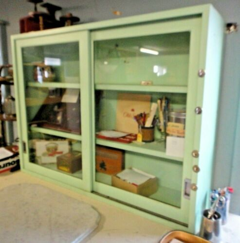 Antique METAL GLASS PAINTED SLIDING DOOR STORE CABINET COLLECTIBLES DISPLAY CASE