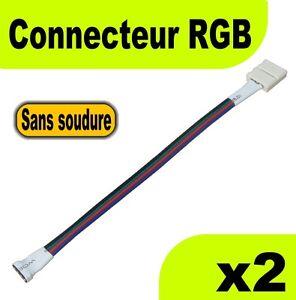867 2 connecteur ruban led rgb sans soudure ruban fil contr leur 2pcs ebay. Black Bedroom Furniture Sets. Home Design Ideas