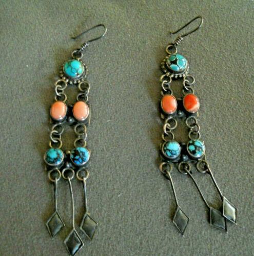 "Old Native American Navajo Multi-Stone Sterling Silver Chandelier Earrings 4"""