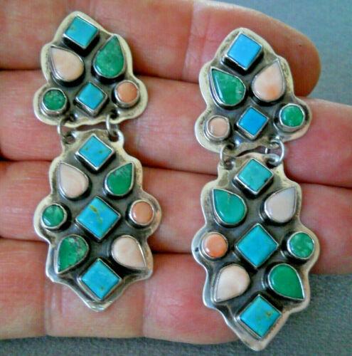 SPIRIT WINDS Southwestern Multi-Stone Cluster Sterling Silver Post Earrings LUW