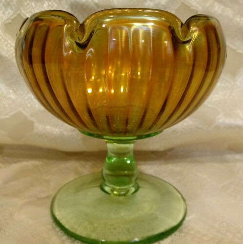 Marigold Carnival Glass Compote w/ Green Base Smooth Ridges Scallops