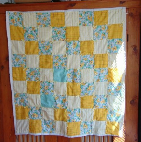 """Patchwork Quilt Aqua Feed Sack Yellow Baby Wall 36"""" x 39"""" New Handmade"""