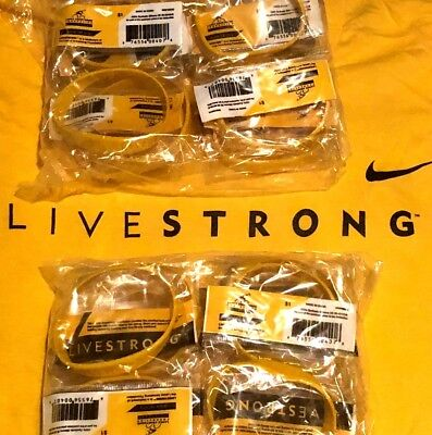 20 LIVESTRONG BRACELETs CHARITY Lot Cancer Awareness Fast Free Shipping Lance
