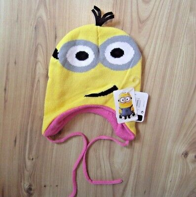 ABLE ME MINION HAT, TIE UPS GORRO 2 EYES PINK INNER LINED (Despicable Me Minion Hat)