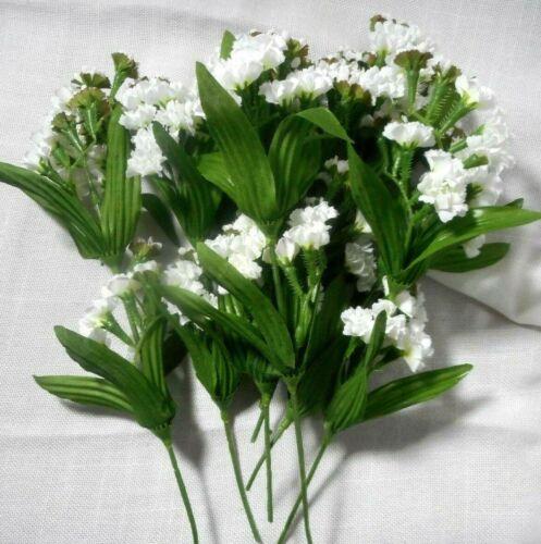 "8 stems  Artificial Silk Flowers White  7"" - 10 """