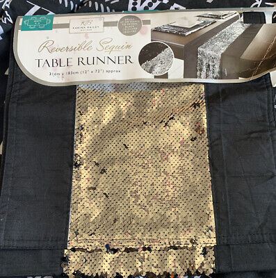 """Karina Bailey Reversible Sequin Table Runner Black & Silver 12""""x72"""" Approx"""