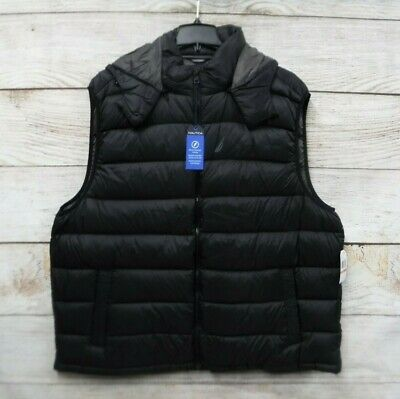 Nautica Down Puffer Vest Mens Size 2XT Black Thin Removable Zipped Hood New