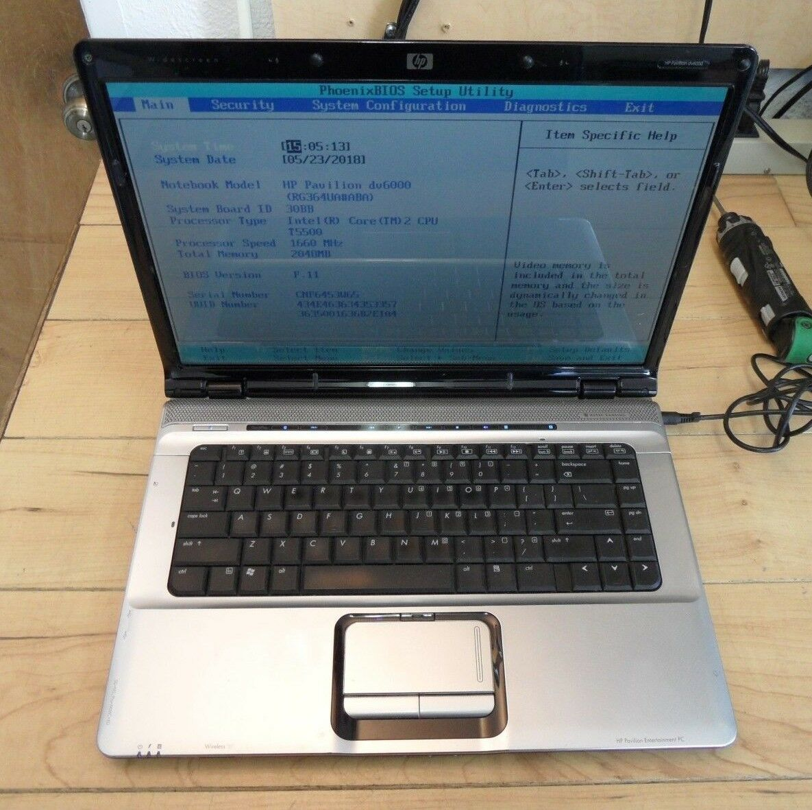 HP Pavilion dv6000 dv6135nr Parts Laptop Posted Bios No Hard Drive 434723-001 *