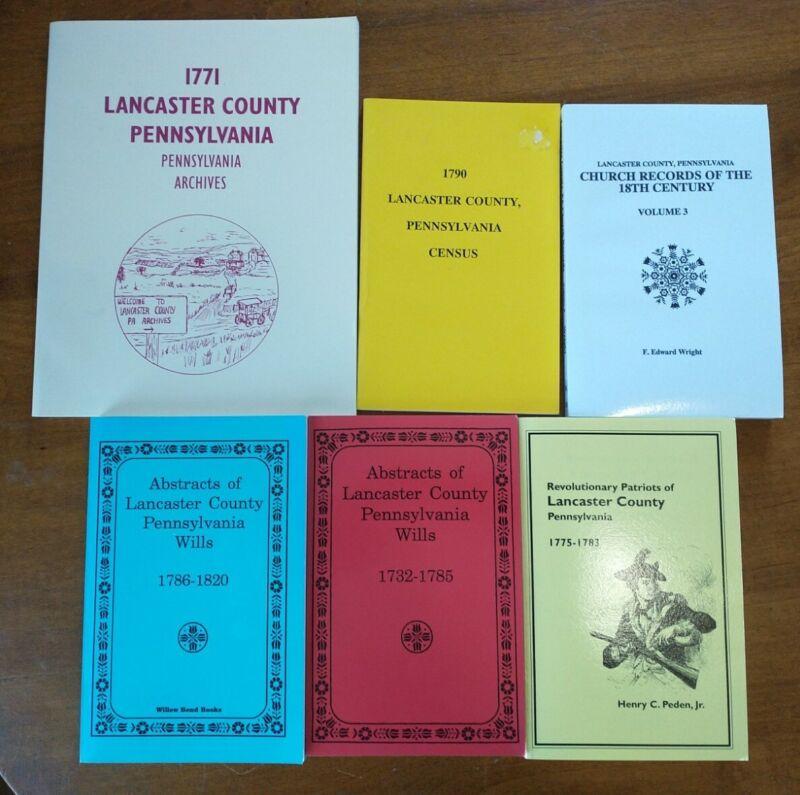 Lot of 6 Genealogy & History Books - Lancaster County, PA - Revolution, Slavery