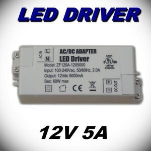 601 led driver transformateur ruban ampoule led 12v 5a 60w ebay. Black Bedroom Furniture Sets. Home Design Ideas