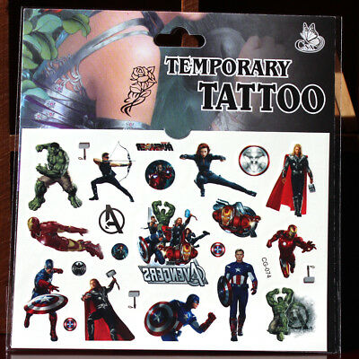 Superhero Avenger Kids Gift Temporary Art Tattoo Sticker Removable Waterproof - Avengers Tattoo