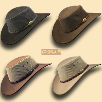 ~oZtrALa~ LEATHER Breezer Hat Australian Cowboy Stetson-Style Men's Golf OUTBACK](Suede Fedora)