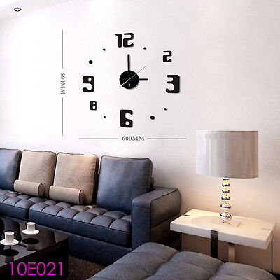 Art Time DIY Wall Clock 3D Sticker Watch Frameless Hours Quartz Timer 10E021