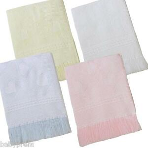 BABY-NURSERY-CRIB-PRAM-BEDDING-SHAWL-BLANKET-122-X-122-CM-WHITE-CREAM-PINK-BLUE