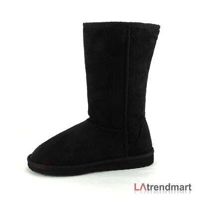Women Round Toe Mid Calf Faux Suede Fur Winter Boot Flat Soda Soong Black # 5.5 (Black Women Fur Boot)