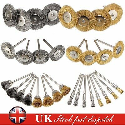 32Pcs Brass Steel Wire Brush Polishing Wheels Full Kit for Dremel Rotary Tools