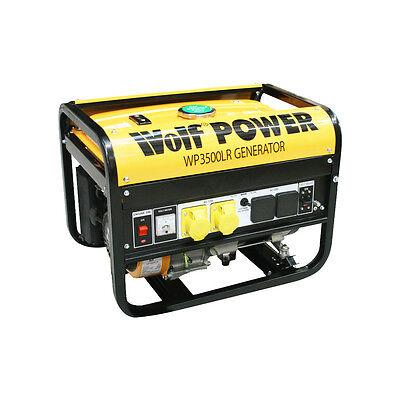 Ex Demo Wolf 3200Watt 6.5HP 4 KVA 240v 110v Dual Voltage Petrol Generator