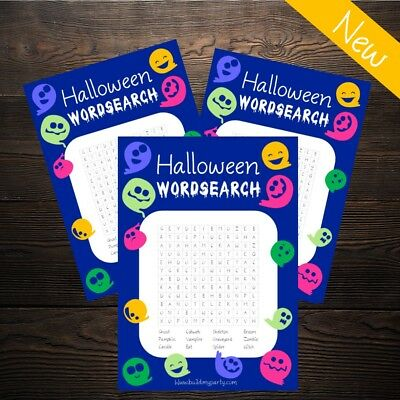 Halloween Wordsearch - 20 Player - Cute Ghost - New Kids Party Activity Game  - Halloween Children's Word Search