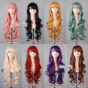 Fashion-Style-80CM-Long-Curly-Lady-Girl-Anime-Cosplay-9-Colors-Hair-Wig-Wig-Cap