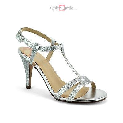 Open Toe Ankle Strap Mid High Heels Dress Sandal Classified Begin Silver Glitter