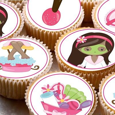 24 Edible cake toppers decorations Pamper Spa day party beauty treatments](Spa Party Cakes)