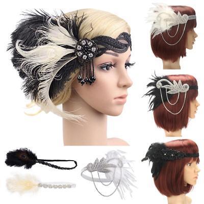 1920s Headpiece Feather Flapper Headband Great Gatsby Headdress Vintage Prom