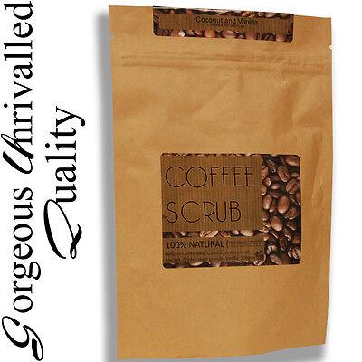200g Organic 100% natural ROBUSTA coffee & coconut oil body scrub VEGAN 220g