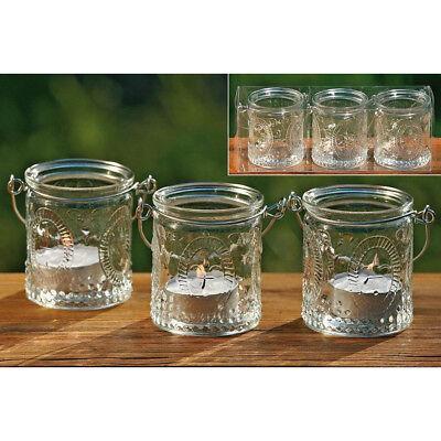 3 x Glas Windlichter Teelicht Halter Country Stil Kerzenhalter Vintage Landhaus 3 X Licht