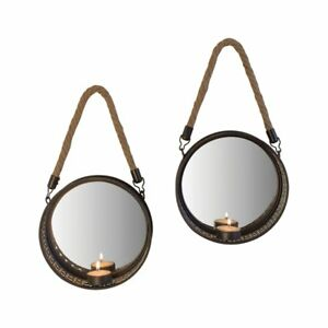Pack of 2 Wall Rope Hanging Mirror Candle Metal Sconce Tealight Holder Quality