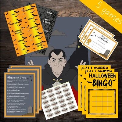 Halloween 5 Game Multipack - 20 Player - Bingo Wordsearch Trivia Vampire Prize - Word Search Games Halloween
