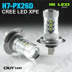 2 ampoule 16 led h7 px26d type 80w cree xpe 12v 24v feux anti brouillard de jour ebay. Black Bedroom Furniture Sets. Home Design Ideas