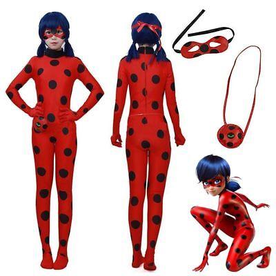 Kinder* Mädchen Ladybird Ladybug Kostüm +Perück Cosplay Karneval Overall Set