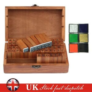 70 Alphabet Rubber Stamp Set Wooden Box Vintage style Letter Number + 6 Ink Pads