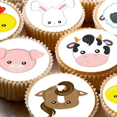 24 icing cake toppers decorations Farm Animal Faces Cow Pig Sheep Rabbit chicken